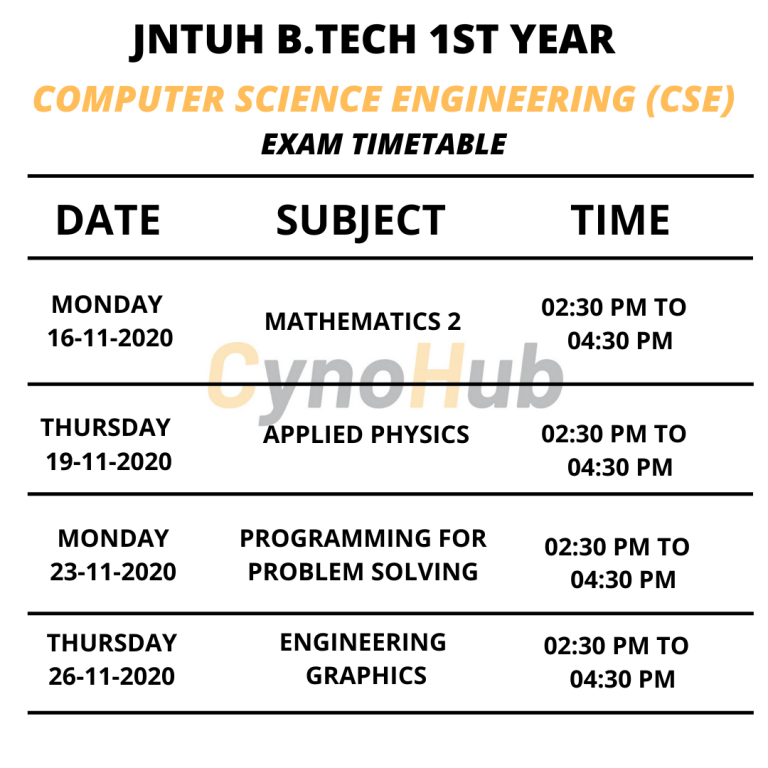 computer science engineering timetable