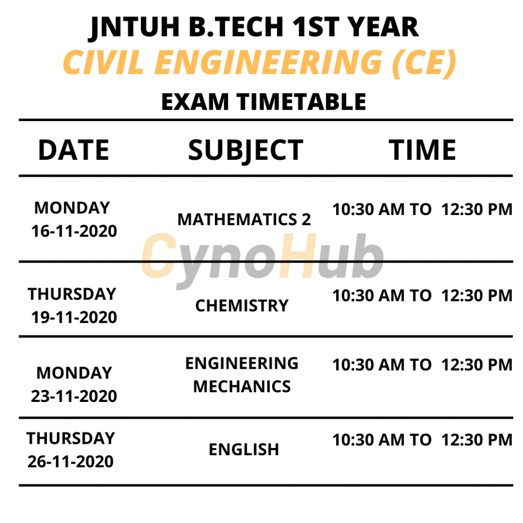 civil engineering timetable