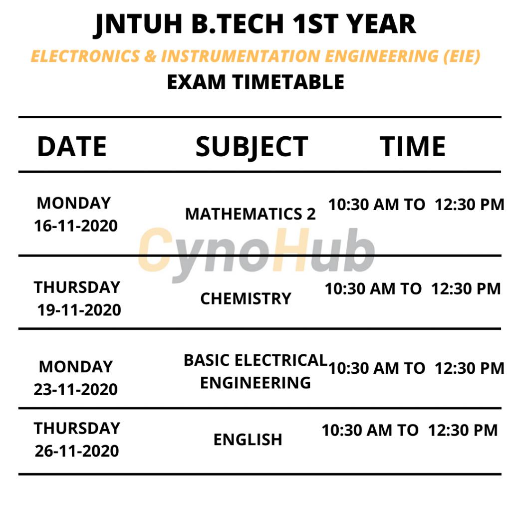 electronics & instrumental Engineering EIE timetable
