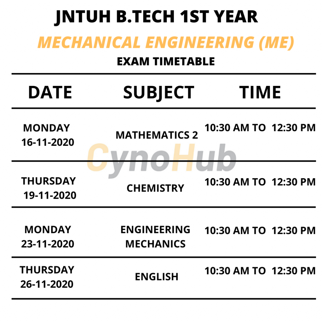 mechanical engineering timetable