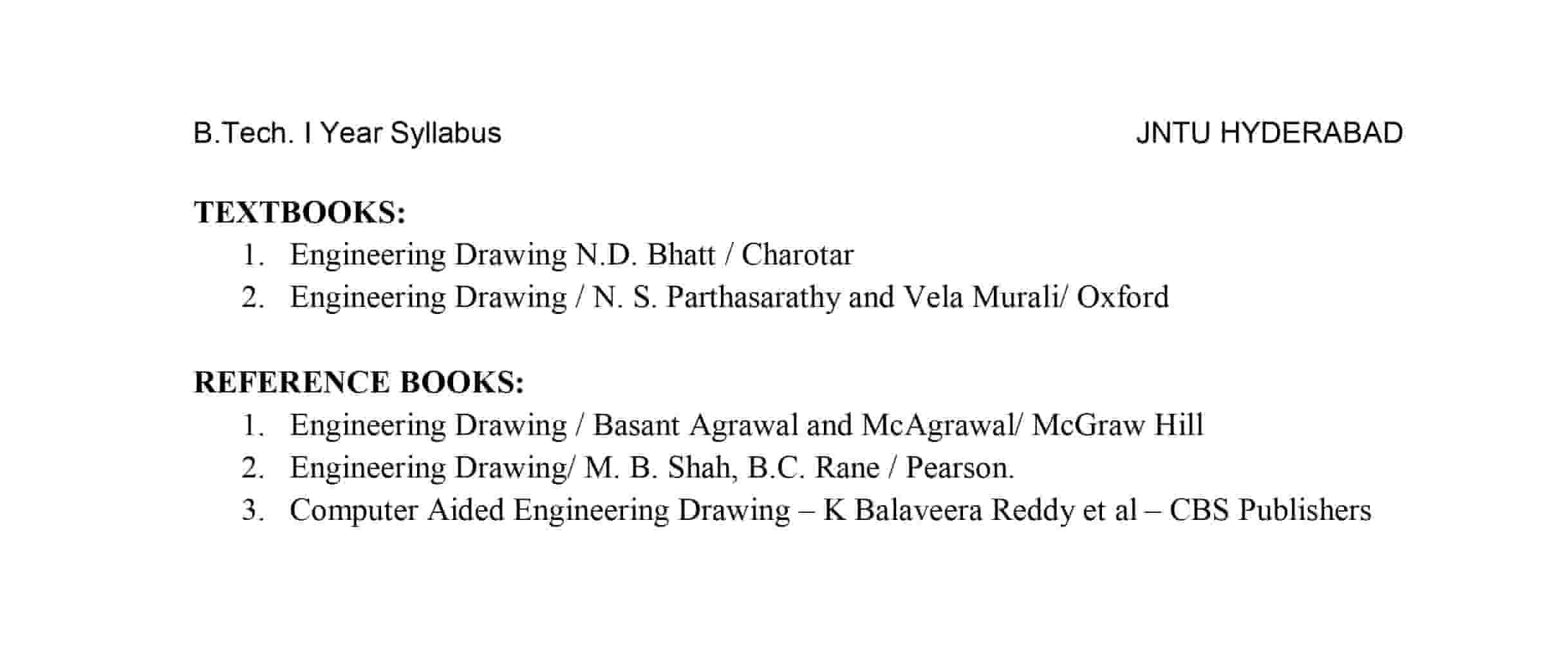 engineering drawing engineering graphics btech r18 jntuh syllabus pdf download
