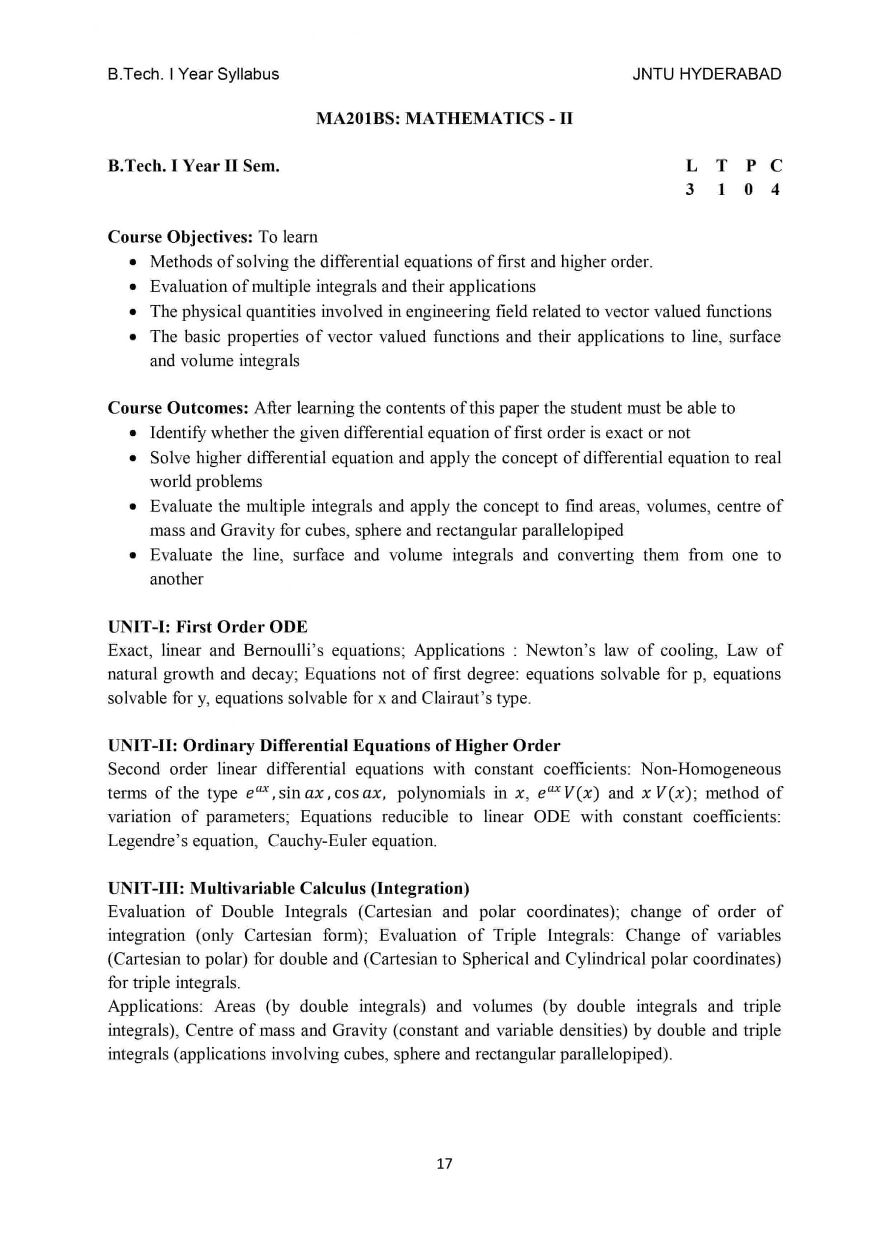 Mathematics 2 ( M2 ) btech r18 jntuh syllabus pdf download