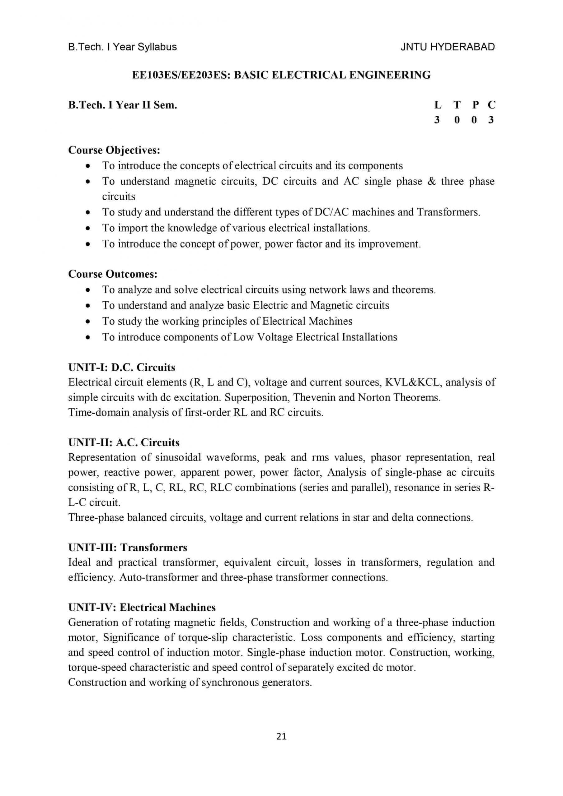 Basic Electrical Engineering BEE btech r18 jntuh syllabus pdf download